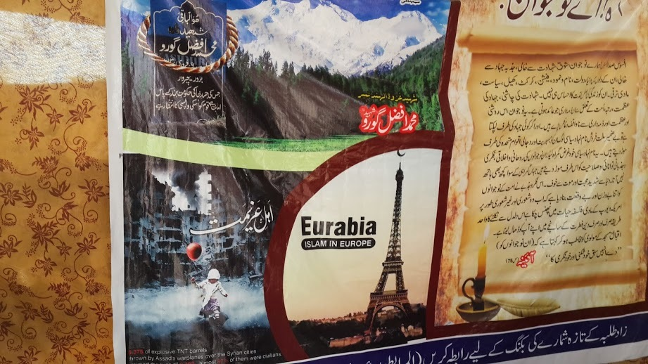 A close up of the poster that has Eurabia written on it. - Photo by Taha Siddiqui