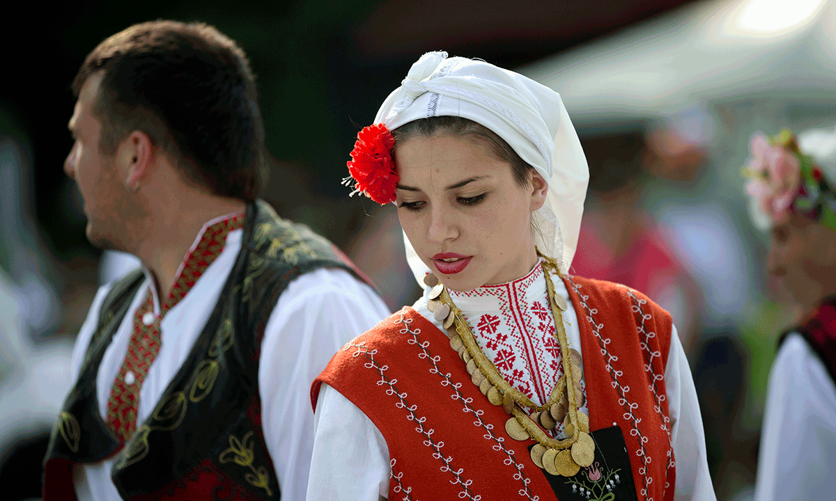 Bulgarians recreate 17th century wedding at a folk for Traditional photos