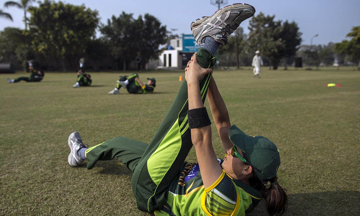 Captain of Pakistan's women's cricket team, attends a training session in preparation for the 2014 International Cricket Council (ICC) World Twenty20 competition in Muridke February 22, 2014.