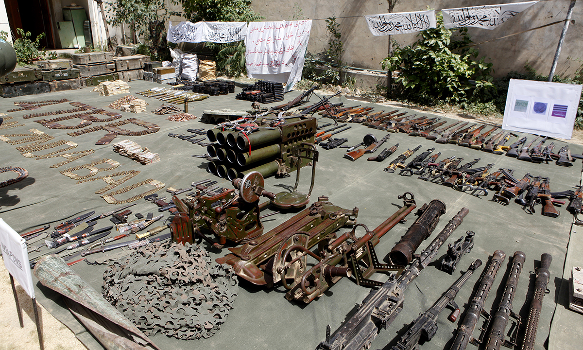 Pakistan Army display confiscated ammunition, reportedly from militants Miramshah, after driving out militants from Pakistan's tribal region of North Waziristan along the Afghanistan border, Wednesday, July 9, 2014. — Photo by AP