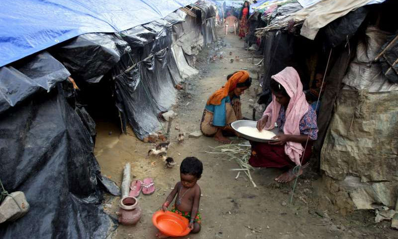 Photo shows a family of Rohingya refugees in Bangladesh.—Photo: UNHCR