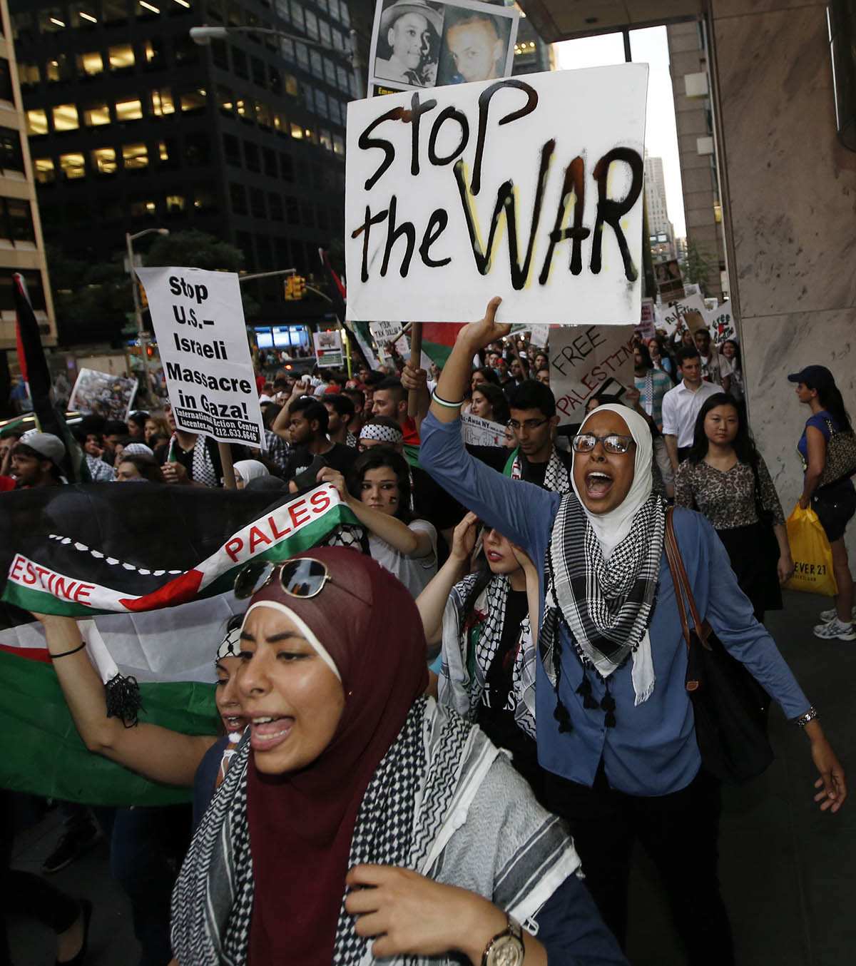 Groups promoting a free Palestine staged an anti-war demonstration in New York, Wednesday, July 9, 2014. — Photo by AP