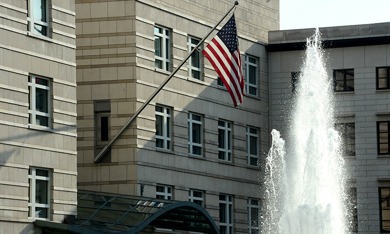 The US national flag is displayed outside the building of the US embassy in Berlin. — Photo by AFP
