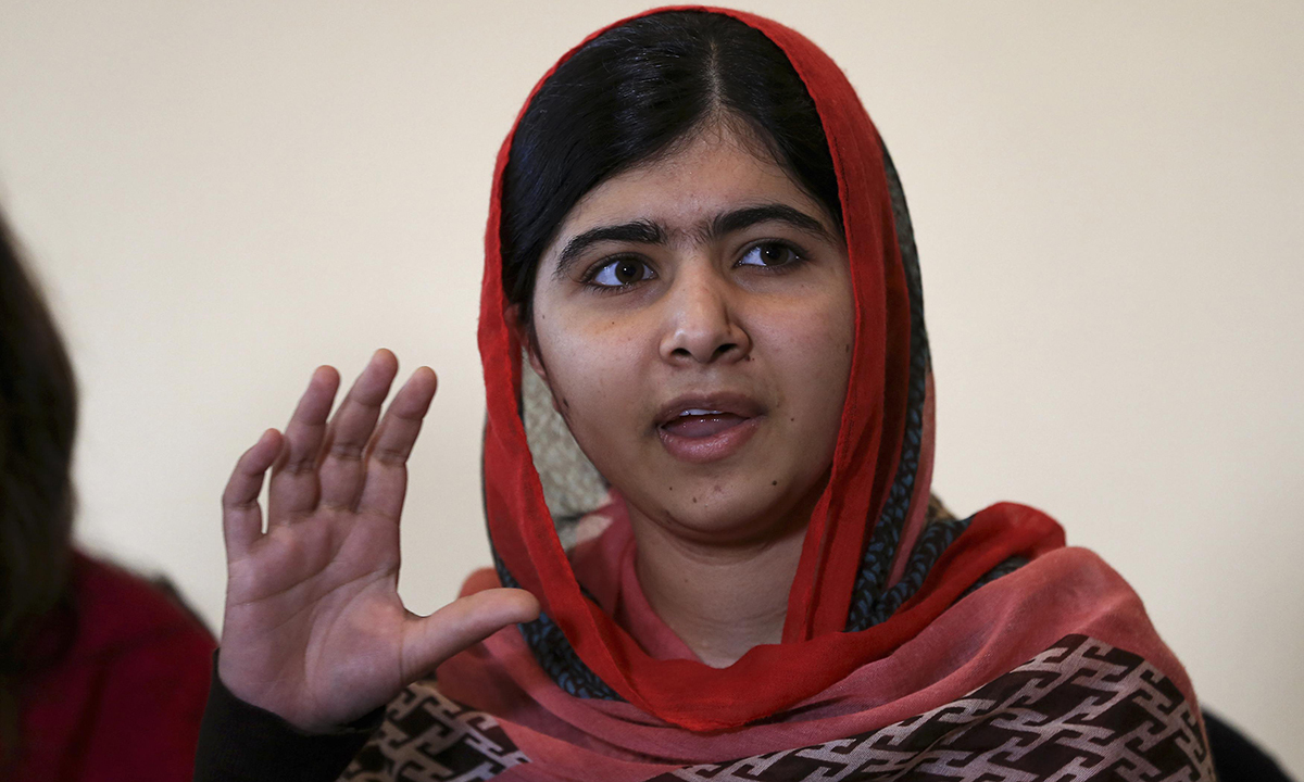 Pakistani schoolgirl activist Malala Yousafzai speaks during a meeting with the leaders of the #BringBackOurGirls Abuja campaign group, in Abuja July 13, 2014. – Photo by Reuters