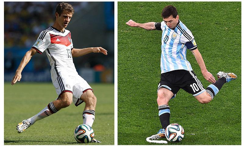 ارجنٹائن لیون میسی (دائیں جانب)پر انحصار کرے گا، جرمن کھلاڑی تھامس ملر(بائیں جانب) اپنی ٹیم کی امیدوں کا مرکز ہیں۔۔۔فوٹو۔۔۔اے ایف پی