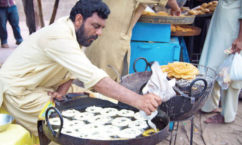The advent of Ramazan brings more demand, so jalebis are added to the traditional menu.