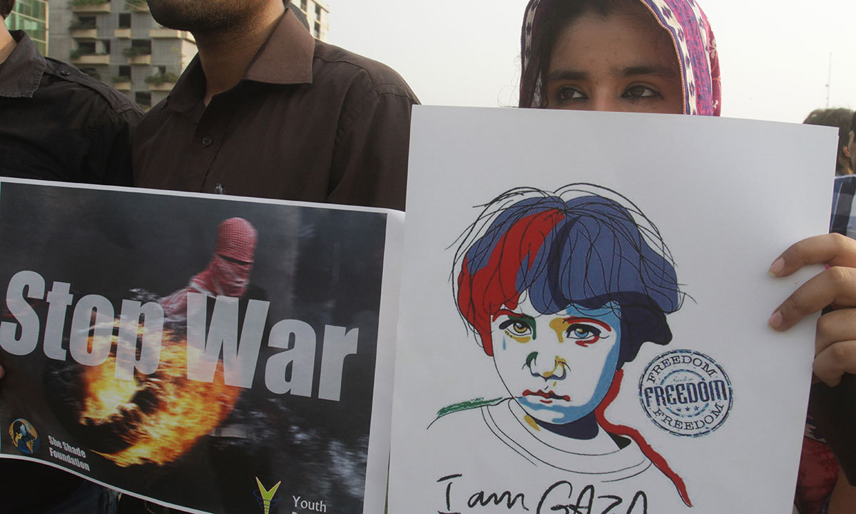 Pakistani students rally against Israeli military operations in Gaza, July 14, 2014, in Lahore. — Photo by AP