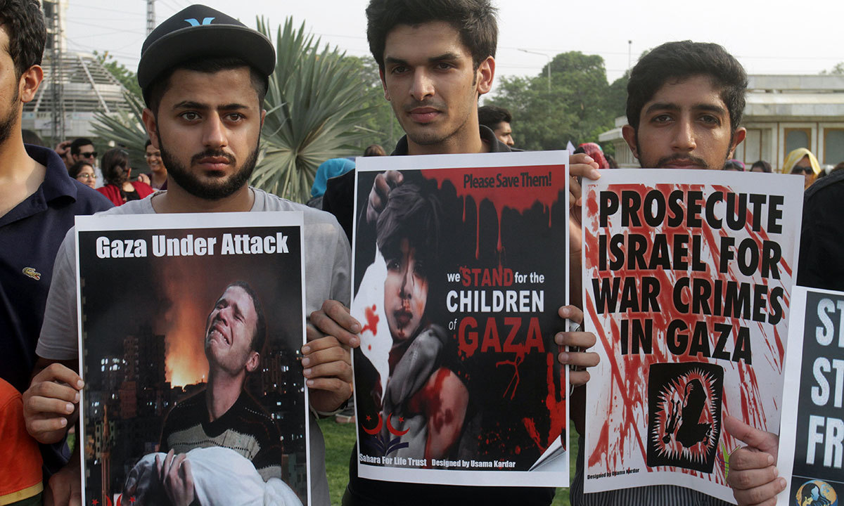 Pakistani students rally against Israeli military operations in Gaza, Monday, July 14, 2014, in Lahore. — Photo by AP