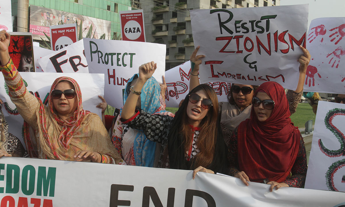 Pakistanis rally against Israeli military operations in Gaza, Monday, July 14, 2014, in Lahore. — Photo by AP