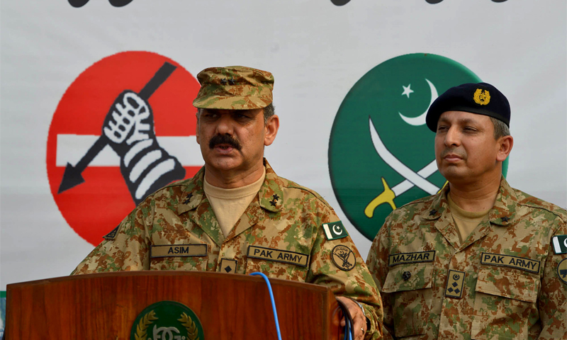 LAHORE: ISPR Director General Asim Bajwa talking to media personnel about the progress of the military operation in North Waziristan here on Tuesday.—White Star