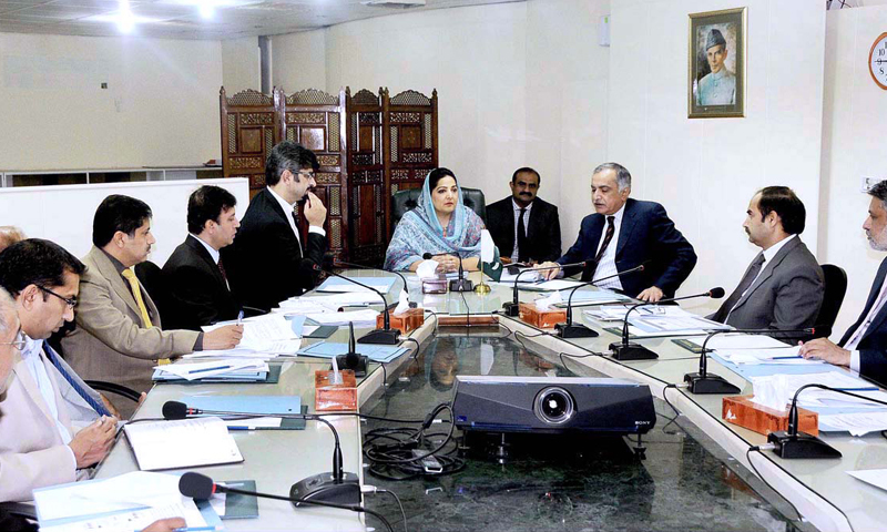 State Minister for Information Technology and Telecommunications Anusha Rahman chairs an inter-ministerial committee meeting regarding establishment of e-commerce gateway. — Photo by APP