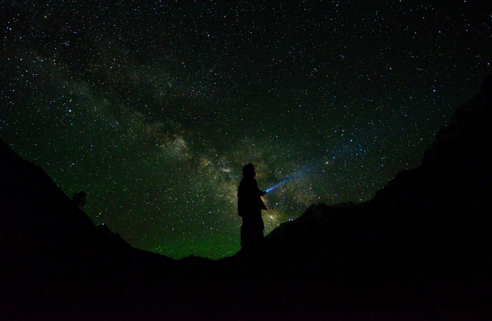 Self portrait with Milky way visible, Naltar Pass, Gilgit Baltistan. By Mobeen Ansari