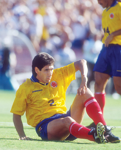 Colombia's Andres Escobar after scoring the own goal in the 1994 Football World Cup