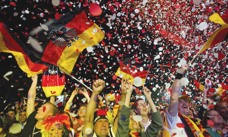 A jubilant German crowd after winning the FIFA  World Cup 2014