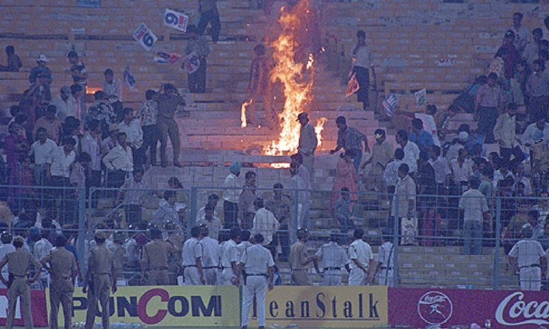 Angry fans set fire to stands at Eden Gardens