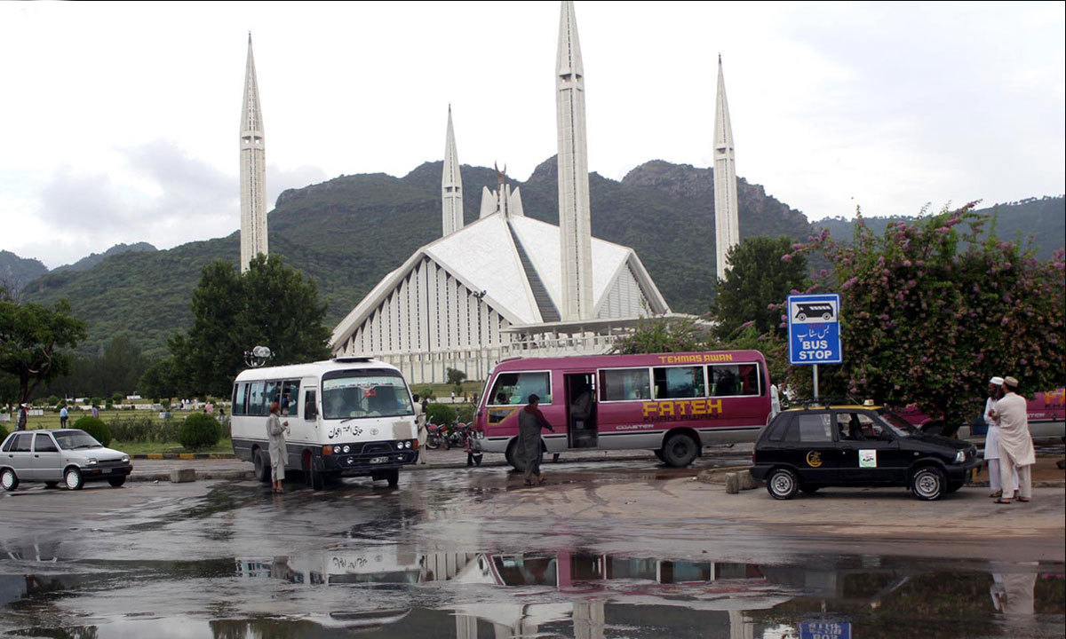 ISLAMABAD: A view of Faisal Masjid after heavy rain in the federal capital. — Photo by INP