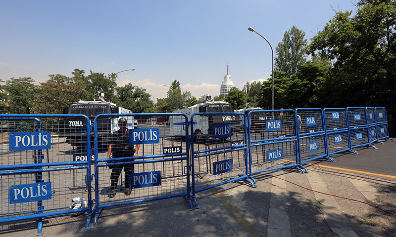 Riot police close main Ataturk Boulevard and other roads leading to the residence of the Israeli ambassador — AP Photo