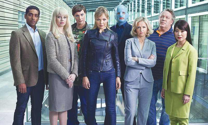 THE cast of the Swedish series Real Humans from left to right: Alexander Karim (Douglas), Josephine Alhanko (FlashFlorentine), Alexander Stocks (Odi), Marie Robertson (Bea), Mans Nathanaelson (Jonas), Pia Halvorsen (Inger Engman), Leif Andree (Roger Palsson) and Lisette Pagler (Mimi).—AFP