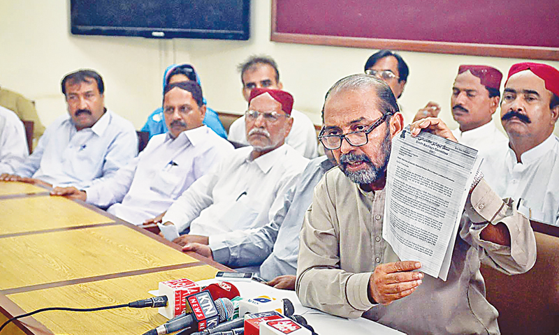 Sindh Bachayo Committee convener Syed Jalal Mehmood Shah on Saturday holds up the letter sent by the alliance to the prime minister over the issue of internally displaced persons.—White Star