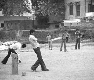 Boys Playing Cricket On An Empty Plot In Lahore In 1973
