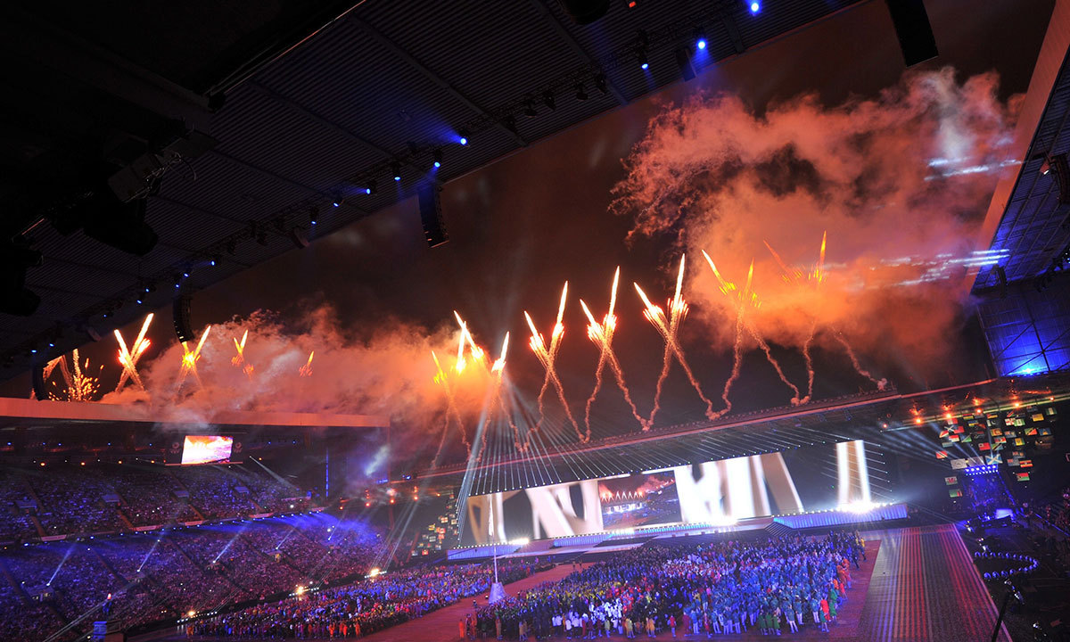 Fireworks light up the sky during the opening ceremony of the 2014 Commonwealth Games at Celtic Park in Glasgow on July 23, 2014. — Photo by AFP