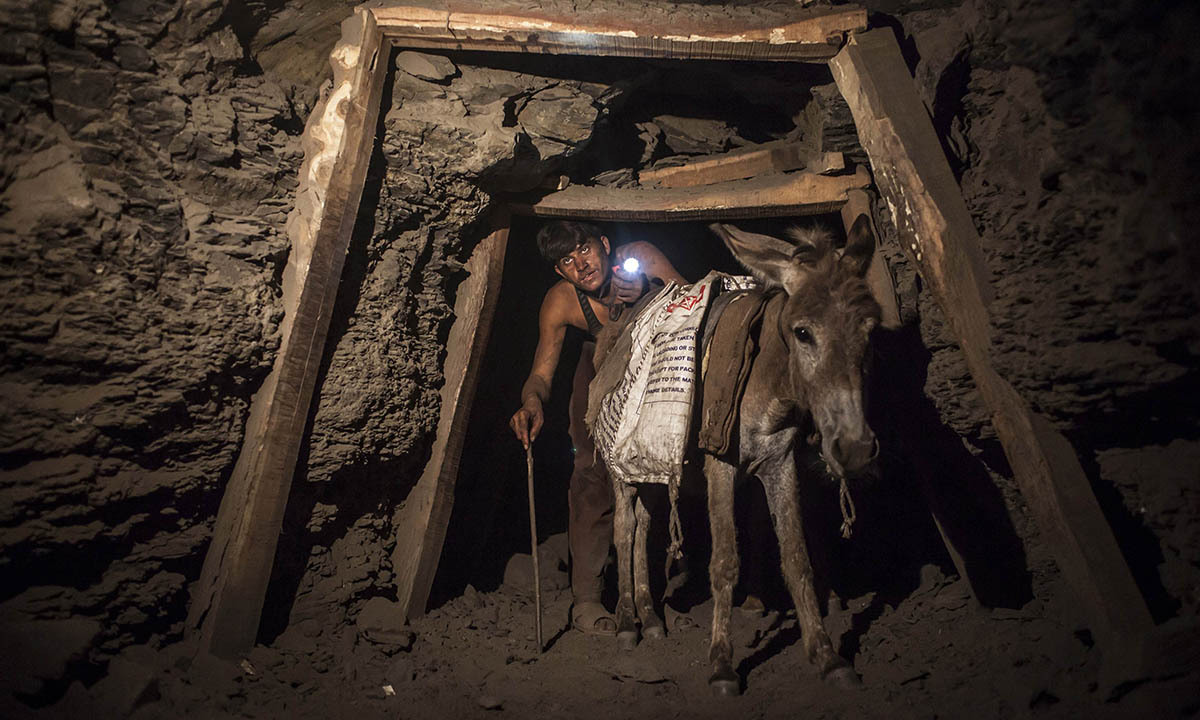 A miner with a donkey makes his way through the low and narrow tunnel leading out of a coal mine in Choa Saidan Shah in Punjab province, April 29, 2014.  — Photo by Reuters