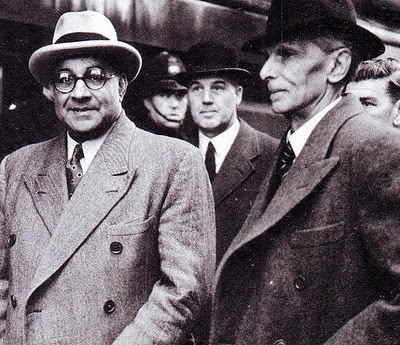 Liaquat Ali Khan (left) with Jinnah.