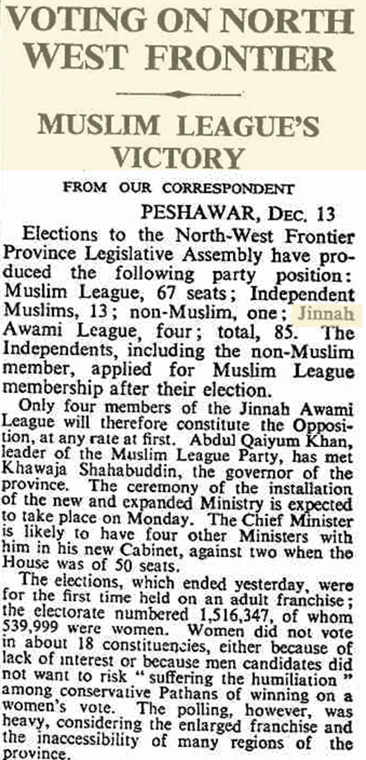 A newspaper report of the 1951 election in NWFP.