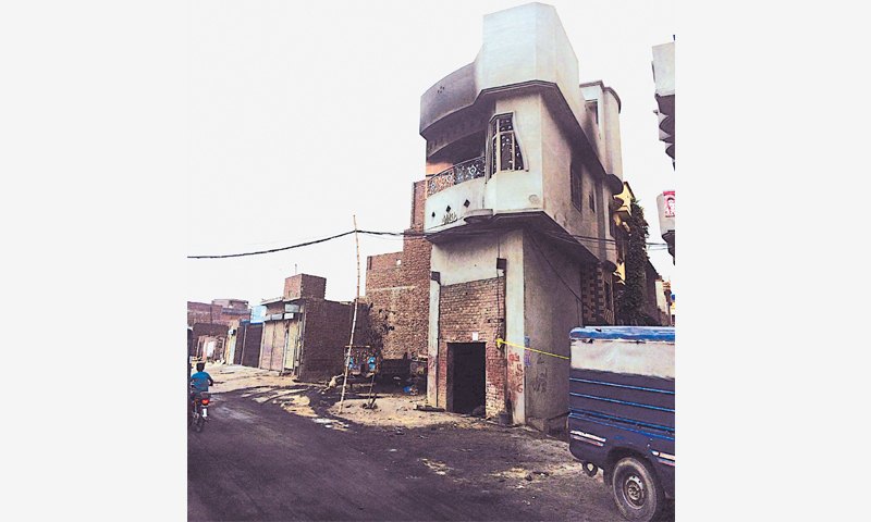 THE charred house of Aslam in Arafat Colony off Racecourse Road in Gujranwala. The house was vandalised and torched during the anti-Ahmadi violence that broke out in the neighbourhood over an alleged blasphemous Facebook post on July 20.—Photo by author
