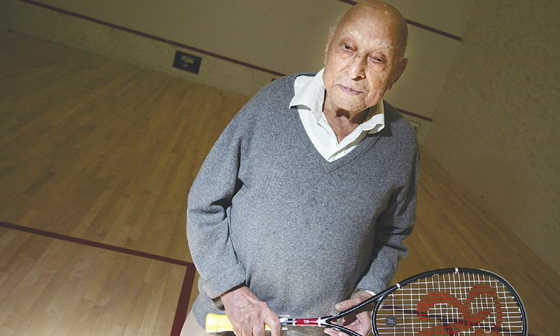In this Nov 20, 2007 file photo, Pakistan squash great Hashim Khan poses for a photo on a squash court in Denver. — Photo by AP
