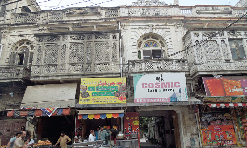 The entrance to the Suri Mansion, which is located just off the Banni food street in Kartarpura. The inscription on the building's façade was changed to 'Nuri' after partition.