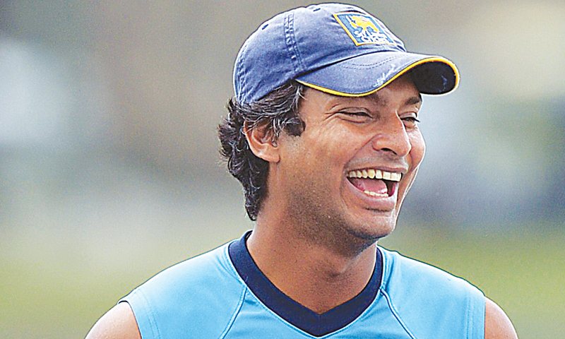 KUMAR Sangakkara gestures during a practice session at the Galle International Cricket Stadium on Sunday.—AFP