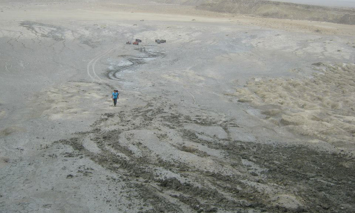 A view of the Chandragup mud volcano in the  Jhal Jhao tehsil of Balochistan. — Photo by Taimoor Hussain