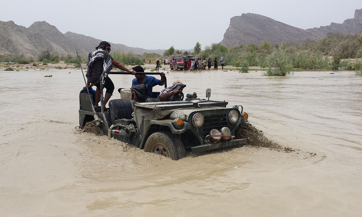 The spirit of adventure saw us stuck in the flooded Hingol River and despite our best efforts we had to turn back. -Photo by Ali Umair Jaffery