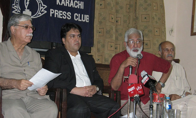 Rights activist Karamat Ali addresses the press conference at KPC.— Photo release