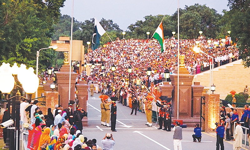 INDIAN and Pakistani border guards at a flag ceremony at the Wagah border.