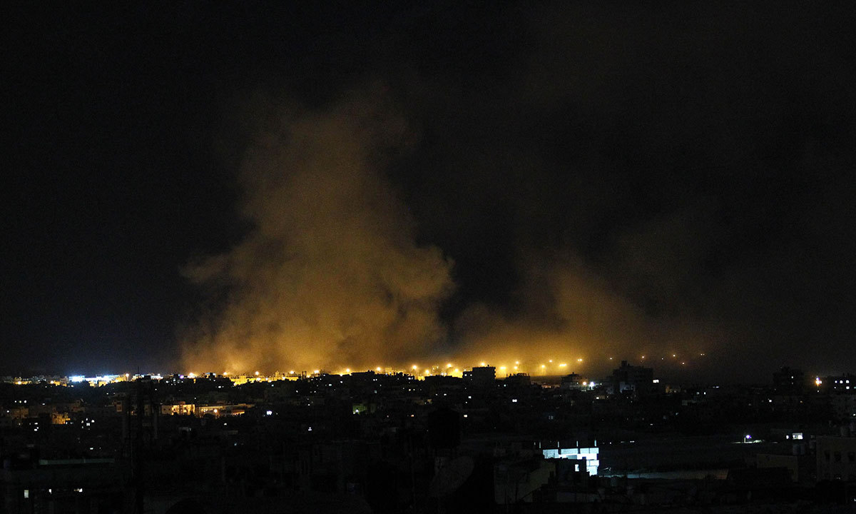 Smoke and fire billow following an Israeli air strike in Rafah in the southern of Gaza Strip. AFP