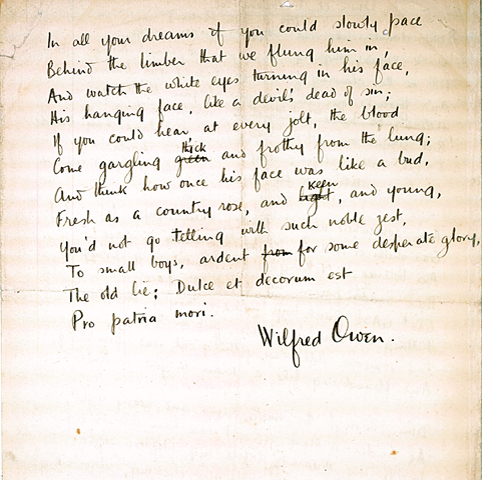 wilfred owens poetry essay Poetry (576) futility of war illustrated in wilfred owen's is this the perfect essay for you save time and order futility of war illustrated in wilfred owen.