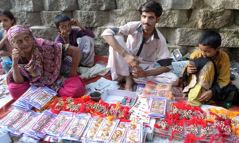 Muslim rakhi sellers from Mirpurkhas.—Photo by writer