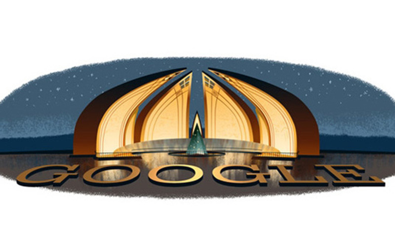 The image shows the Google doodle for August 14 on Pakistan's Google homepage.