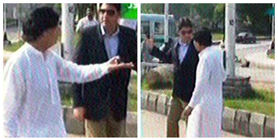 Interior Minister Chaudhry Nisar Ali Khan visiting Islamabad's Aabpara Chowk to inspect security arrangements.—DawnNews footage