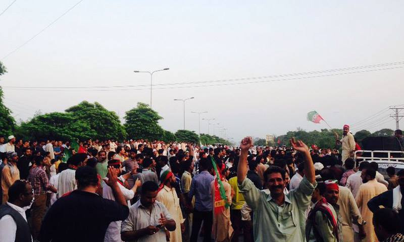 PTI supporters at Faizabad - PTI media cell