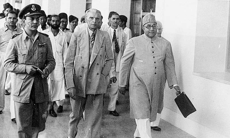 Quaid-e-Azam Muhammad Ali Jinnah and Liaquat Ali Khan accompanied by members of Muslim League.