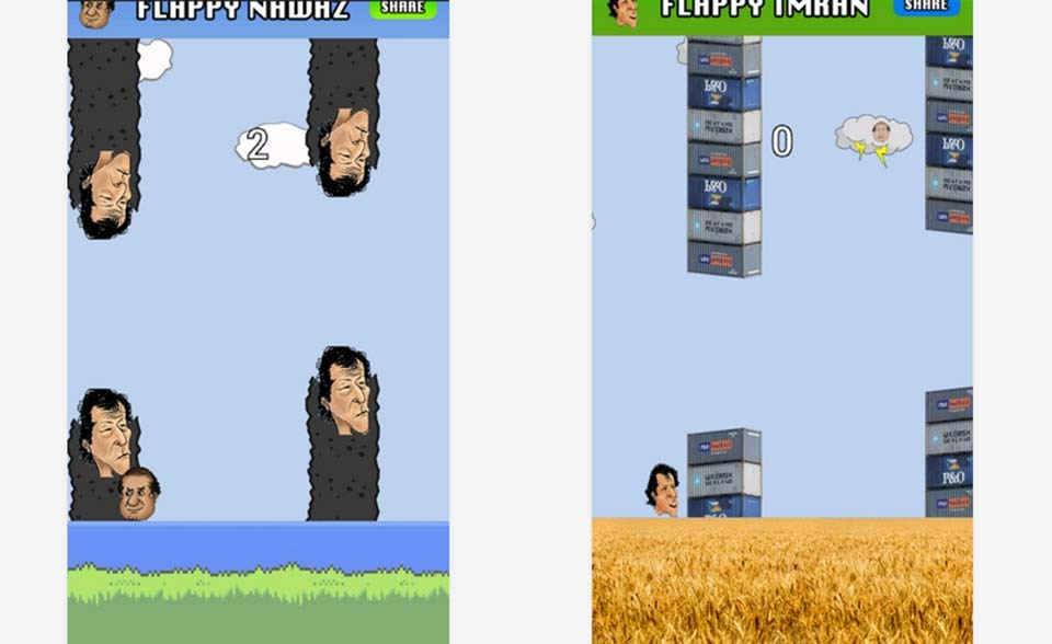 A screen shot of Flappy Nawaz and Flappy Imran