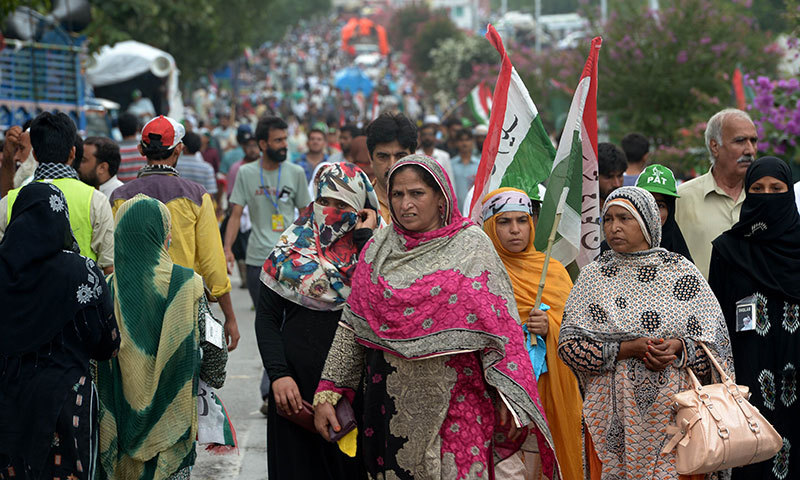 Supporters of Tahirul Qadri in Islamabad on August 16, 2014. — Photo by AFP