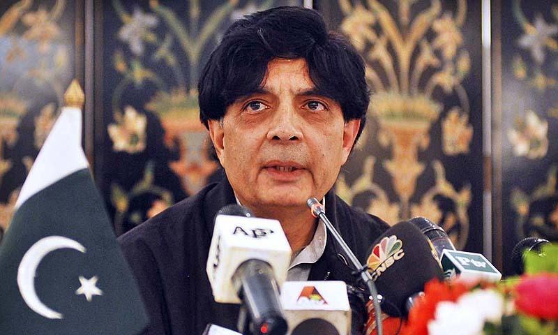 Photo shows Federal Minister for Interior Chaudhry Nisar Ali Khan addressing a press conference.—APP/File photo