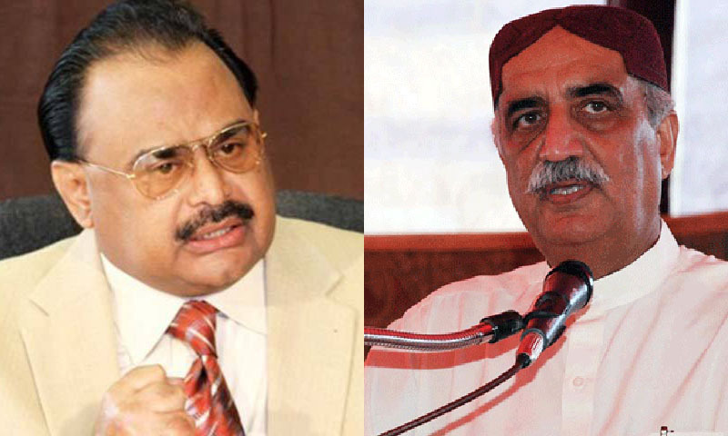 MQM chief Altaf Hussain (L) and Leader of the Opposition in the National Assembly Syed Khursheed Shah belonging to the PPP ® — File photo