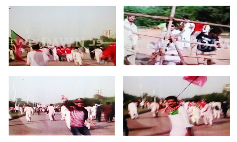 A combination images showing PTI workers advancing towards Islamabad's Red zone area.