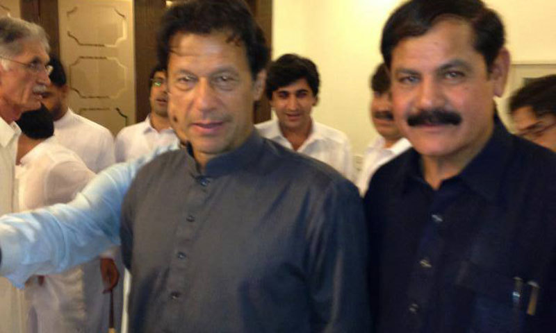 PTI chief Imran Khan and KP Information Minister Mushtaq Ghani. — Courtesy: Facebook page of Mushtaq Ghani