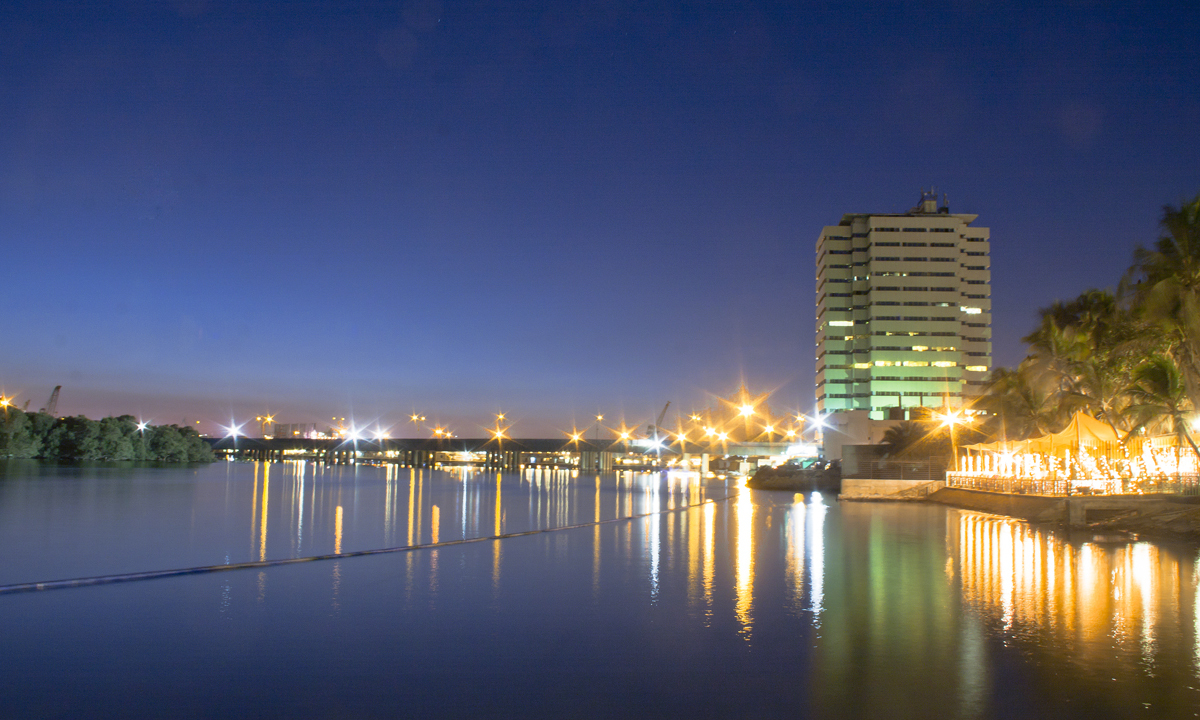 PNSC Building at night. Shot taken from Beach luxury Hotel.  - Photo by Aliraza Khatri
